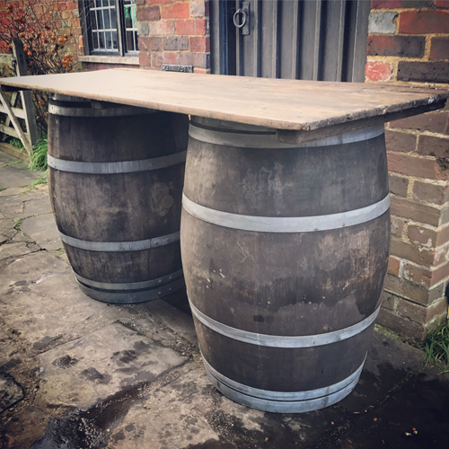 Rustic barrel bar