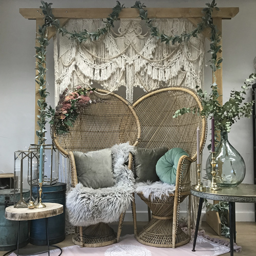 Boho seating packagae peacock chairs macrame backdrop festival wedding