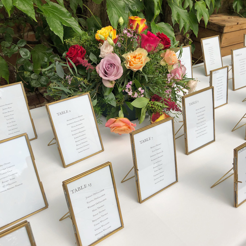 Brass frames table plan