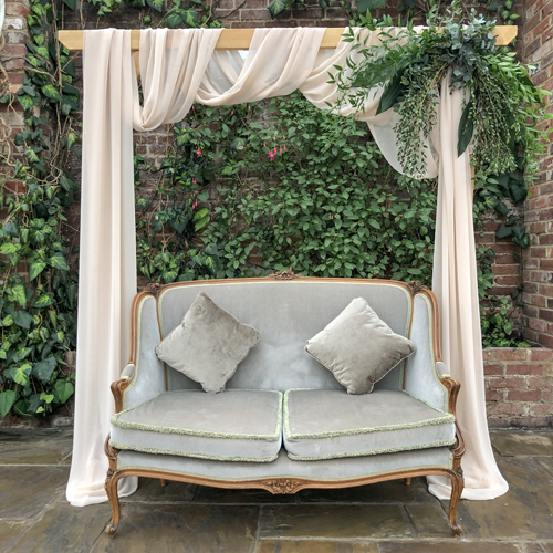 Green sofa velvet vintage backdrop chillout