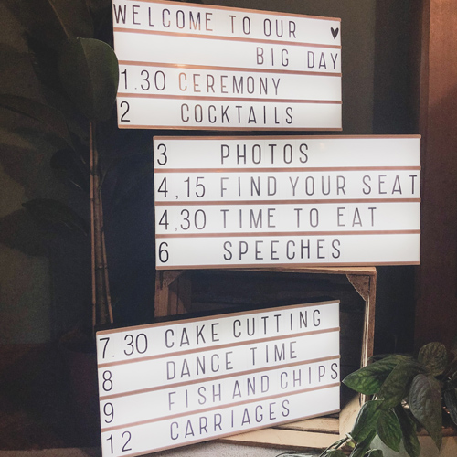 Order of the day lightbox rustic