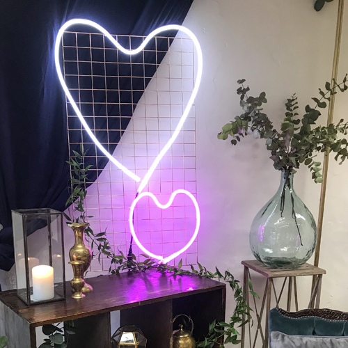 Neon wedding sign hearts cool wedding