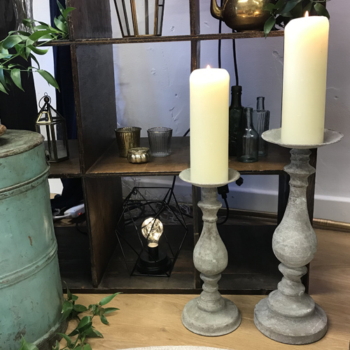 grey rustic candlesticks