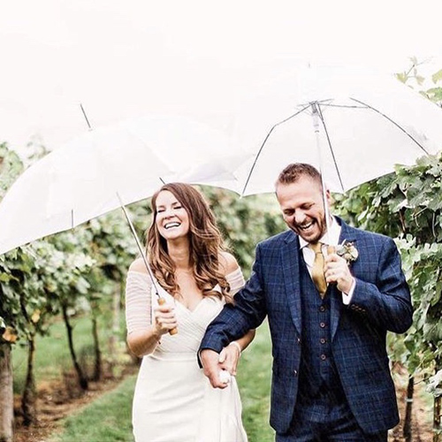 White wedding umbrellas