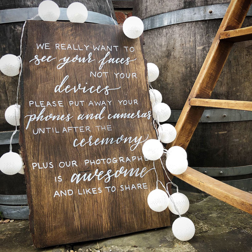 Tree slice rustic unplugged ceremony sign